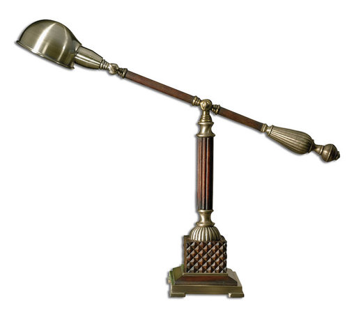 Uttermost - Dalton Wood Desk Lamp - This is another option from the Dalton collection. This charming desk lamp with old-world styling will light up your subject matter while lending a note of solidity to your desk or side table.