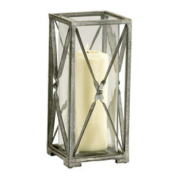 Cyan Design - Cyan Design Large Ascot Candleholder X-98240 - A tall frame and simplistic detailing creates a clean but casual look to this Cyan Design candleholder, from the Ascot Collection. The windows of this large candleholder are made from glass and framed in metal, with diamond-shaped lattice work that is held together at a center point.