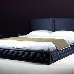 Bianca (LS405) Platform Bed - A rich fabric upholstered bed with tufted buttons. Padded headboard and low to the floor styling. Wood slats included. Available in California King or Eastern King.