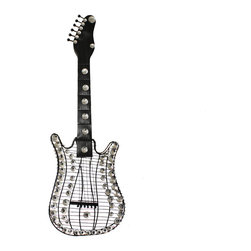 None - Hand-finished Viva La Music 3-D Metal Guitar Wall Art Decor - Just like rock and roll, this unique metal wall art decor blends glamour with edginess. Metallic wires and bright acrylics work together to create a bold guitar silhouette. No matter where you display this wall decor, it is likely to capture attention.