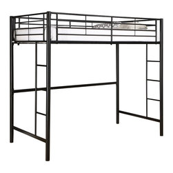 Walker Edison - Walker Edison Sunset Metal Twin Loft Bunk Bed in Black Finish - Walker Edison - Bunk Beds - BTOLBL - Elegance and function combine to give this contemporary bunk bed a striking appearance. The design gives a stylish modern look crafted with durable steel framing. Designed with safety in mind the bed includes full length guardrails and a sturdy integrated ladder. Great for any space-saving design needs.