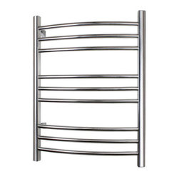 "WarmlyYours - WarmlyYours TW-R09PS-HW Polished Stainless Steel Riviera Riviera Towel - The WarmlyYours new Riviera electric towel warmer is manufactured from superior quality stainless steel and comes with a 5-year warranty. The modern curved tubular profile accommodates two large towels. It is lighter in weight, easier to install, and operates at a fraction of the cost of most liquid filled models. Product Features:  Beautiful and functional Superior quality metals and hand finished for durability and long lasting beauty Great addition to any bathroom Curved tubular profile accommodates 2 large towels Includes a programmable timer Hardwires into 120 volt circuit 5 year limited warranty  Product Specifications:  Height: 32"" Width: 24"" Extension: 5"" Watts: 150"