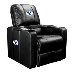 Dreamseat Inc. - BYU NCAA Home Theater Plus Leather Recliner - Check out this awesome Leather Recliner. Quite simply, it's one of the coolest things we've ever seen. This is unbelievably comfortable - once you're in it, you won't want to get up. Features a zip-in-zip-out logo panel embroidered with 70,000 stitches. Converts from a solid color to custom-logo furniture in seconds - perfect for a shared or multi-purpose room. Root for several teams? Simply swap the panels out when the seasons change. This is a true statement piece that is perfect for your Man Cave, Game Room, basement or garage. It combines contemporary design with the ultimate comfort from a fully reclining frame with lumbar and full leg support.