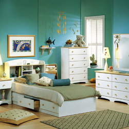 "South Shore - Pure Newbury White Bed Box & Headboard - This beautiful and versatile Newbury Bedroom Set is carefully constructed from sturdy particleboard and finished in pure white laminate with Maple finish knobs and trim.  Add one, two or more optional Newbury bedroom furniture pieces to complete your dream bedroom!  Get everything you need to outfit your daughter's bedroom with this bedroom set.  You will receive the white storage bed and then choose how you want to finish out the set.  You might want the wall mirror and a nightstand. * Manufactured from eco-friendly, EPP-compliant laminated particle boardcarrying the Forest Stewardship Council (FSC) certification. Storage Bed Box. Twin Size Bookcase Headboard. 3 drawer bed box unit. Sintec drawer glides. Constructed of particleboard with a laminate finish. Maple finish wood knobs. Assembly Required. 5-year manufacturer's limited warranty. Weight capacity: 500 lbs. (same for all mates beds). Inside drawer dimensions: 4.5"" H x 22.5"" W x 16.5"" D. Overall Dimensions: 16"" H x 41"" W x 77"" D"