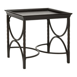 Safavieh - Safavieh Owen End Table X-A1256HMA - The eclectic Owen end table adapts to myriad decorating styles with ease. With pine wood top finished in dark walnut, and airy antique pewter metal base and sides supported by rope twist metal legs, this table is as practical and functional as it is good.