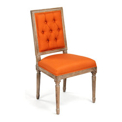 Kathy Kuo Home - Pair Louis XVI Orange Tufted Linen Dining Side Chair - Combining old and new, an antique square-backed wood chair adds a modern splash of citrus with orange linen upholstery. The rich, brown finish highlights intricate details in the carved wood legs and frame of this streamlined seat.