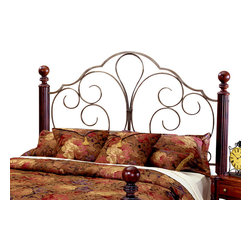 """Hillsdale Furniture - Hillsdale Ardisonne Poster Headboard with Rails - King - Traditional, fully-reeded cherry posts accented by beautiful """"Old silver"""" metal panels make the Ardisonne an outstanding bedroom addition."""