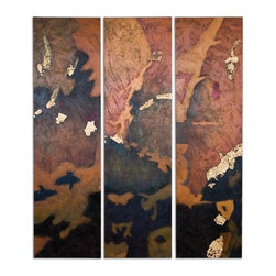 Uttermost - Vibrant Skies Abstract Art Set of 3 - These are frameless hand painted oils on canvas. Due to the handcrafted nature of this artwork, each piece may have a subtle difference.