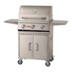 """Bull - Steer Cart, Stainless Steel, N/A, Natural Gas, Natural Gas - This 24"""" Steer cart has doors in the front that allow easy access to your propane tank or other items you want to store underneath the grill."""