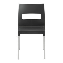 Eurostyle - Maxi Diva Chair (Set of 4) - Anthracite/Aluminum - Recyclable technopolymer shell