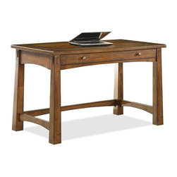 Riverside Furniture - Craftsman Home Writing Desk in Americana Oak Finish - Drop front drawer.