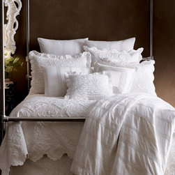 """Amity Home - Amity Home Queen Quilted Dust Skirt - All-white cotton bed linens. """"Juliet"""" duvet covers and shams from Pine Cone Hill&#174 feature an unconventional design of eyelet stripes. """"Zella"""" quilted linens, """"Lauren"""" ruffled accessories, and pillows. Quilted dust skirts have split corners and an 18..."""