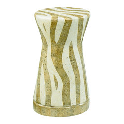 Hammary - Hammary 090-363 Hidden Treasures Round Stone Zebra Accent Table - Treat your home to an exotic accent table that will attract the attention of anyone who enters the room. This drum shaped accent table draws inspiration from Africa with its zebra mosaic fiber glass finish and stone inlay. The two-toned inlays work together beautifully to create a unique, geometric zebra-like pattern. With so much life and style, this Zebra Accent Table will become a wonderful addition in your modern space.