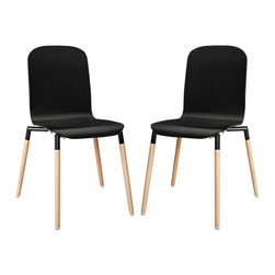 Stack Wood Dining Chairs Set of 2 - Acquaint yourself with an intelligent piece concealed behind sheer simplicity. Stack exhibits fluid lines and an organic form in a seamless transition from the abstract to the definite. Made from a painted durable steel top and solid beech wood legs, Stack coalesces both form and purpose in a harmoniously designed piece that matches well in any uncomplicated decor.
