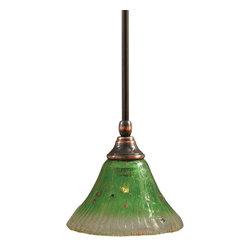 "Toltec - Toltec 23-BC-753 Black Copper Finish Stem Mini Pendant - Toltec 23-BC-753 Black Copper Finish Stem Mini Pendant with 7"" Kiwi Green Crystal Glass"
