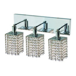 "PWG Lighting / Lighting By Pecaso - Wiatt 3-Light 14.5"" Crystal Vanity Fixture 1091W-O-S-CL-SS - Whether shown individually or as a collection, our Mini Crystal Chandeliers are stunning in any fashion. This stylish collection offers stunning crystal in a range of colorful options to suit every decor."