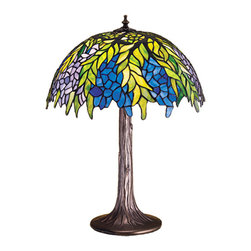 """Meyda - 23""""H Tiffany Honey Locust Table Lamp - The honey locust was popular floral design created bylouis comfort tiffany, more than a century ago.decorative dome-shaped stained glass lampshades, withpetal shaped edges depict clusters of plum andperiwinkle flowers amid spring green leaves cascading towards the base. This table lamp has a complementarydecorative base featuring our mahogany bronze finish. Bulb type: med bulb quantity: 1 bulb wattage: 100"""