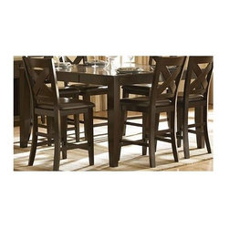 Homelegance - Crown Point Counter Height Table - Stools sold separately. Rectangular shape. Unsophisticated streamlined look. Strong support tapered legs. Mango solid wood veneer top. Warm merlot finish. Minimum: 60 in. L x 42 in. W x 36 in. H. Maximum: 60 in. L x 60 in. W x 36 in. HThis traditional casual dining table works for a small gathering or a large crowd.