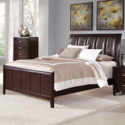 Coaster - Coventry California King Bed in Dark Brown Finish - The Coventry bedroom collection flows with a contemporary design to create a clean and refreshing look within your bedroom. The rich dark cappuccino finish is beautifully accented by brushed nickel finish hardware. The headboard is generously padded in a durable faux leather, drawers are constructed with dove tail joints for durability.