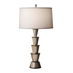 Murray Feiss - Ebonized Silver Leaf / Black Lamp - Add a punch of style to your living room or a playful touch to a work desk.  Stacked silver leaf cups balance to forge a fresh, modern lamp that combines art and function. When illuminated the  pearly taffeta fabric shade creates a soft soothing glow.