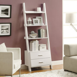 None - White Ladder Bookcase with Drawers - Stack your tomes and memoirs in style with this elegant white ladder bookcase featuring two storage drawers. This convenient piece adds function,utility and beauty as part of the decor of any space.