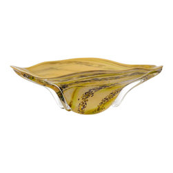 Viz Glass, Inc. - Naturals Bowl - SKU: 6631 - Bowl - Amber with Lime Green and Effects