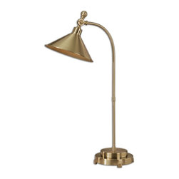 Uttermost - Viarigi Coffee Bronze Desk Lamp - Delicately curved metal finished in a plated coffee bronze with a matching metal shade that pivots up and down.