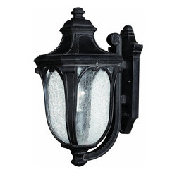 Hinkley - Trafalgar 1-Light Outdoor Wall Lantern Museum - This Trafalgar 1-Light Outdoor Wall Lantern features Museum Black Finish and Clear Seedy Glass to give your home beauty and illumination.