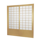"""Oriental Furniture - 7 ft. Tall Zen Shoji Sliding Door Kit - Natural - This fantastic Zen Shoji Sliding Door Kit comes with sliding doors, top and bottom tracks, and right and left door jambs. Rough opening (outside dimension) approximately 83.00""""H x 73.50""""W x 3.50""""D. Tracks and jambs are approximately 1.75"""" Thick x 3.50""""Deep. Each door measures approx. 36.00""""W x 80.00""""H x 1.00""""D."""