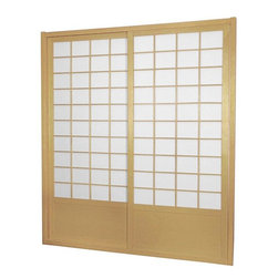 "Oriental Furniture - 7 ft. Tall Zen Shoji Sliding Door Kit - Natural - This fantastic Zen Shoji Sliding Door Kit comes with sliding doors, top and bottom tracks, and right and left door jambs. Rough opening (outside dimension) approximately 83.00""H x 73.50""W x 3.50""D. Tracks and jambs are approximately 1.75"" Thick x 3.50""Deep. Each door measures approx. 36.00""W x 80.00""H x 1.00""D."
