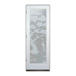 Sans Soucie Art Glass (door frame material Plastpro) - Glass Front Entry Door Sans Soucie Art Glass Bonsai Egret Private - Sans Soucie Art Glass Front Door with Sandblast Etched Glass Design. Get the privacy you need without blocking light, thru beautiful works of etched glass art by Sans Soucie!This glass provides 100% obscurity.Door material will be unfinished, ready for paint or stain.Bronze Sill, Sweep, Satin Nickel Hinges. Available in other finishes, sizes, swing directions and door materials.Dual Pane Tempered Safety Glass.Cleaning is the same as regular clear glass. Use glass cleaner and a soft cloth.