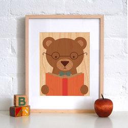 Petit Collage Story Bear - Print on Wood - Story Bear - Print on Wood