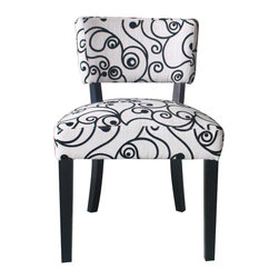 4D Concepts - 4D Concepts Cosmo Oversize Accent Chair in Black & White Swirl Fabric - Bring an extra touch of elegance to your home dcor with this beautifully crafted chair. The gorgeous black and white swirl  fabric gives this chair a distinct and one of a kind look.  The  oversize chair features shaped wooden legs finished in a black finish that blends with the the fabric. The shaped back add that extra flair that will make this chair good for any room in the home.  Assemble required.