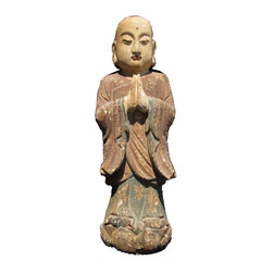 Golden Lotus - Chinese Antique Wood Hand Carving Standing Monk Statue - Look at this peaceful Chinese antique standing monk which is made of solid elm wood.  This statue is different with the reproduction you see at the market.  You can see the monk face and proportion which are perfect.  It should be gorgeous to put at your entrance hall way or living room.