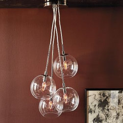 """Cluster Glass Pendant   west elm - This cluster of glass globes came together to form an industrial yet refined modern chandelier.• Iron; clear glass.• Four glass globes, suspended in staggered heights.• Overall: 7.8""""diam. x 36""""h.• Takes four 40W bulbs (not included).• Assembly required.• Hardwired. Professional installation recommended."""