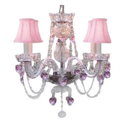 The Gallery - Crystal Chandelier with Pink Crystal Hearts and Pink Shades - The crowning touch to your princess's room is this fanciful chandelier. From the pink crystal hearts to the fabric lamp shades, a fabulous light fixture like this one makes any room sparkle.