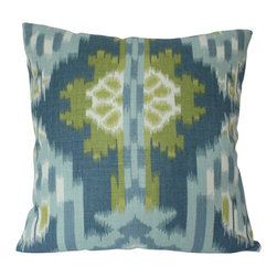 The Pillow Studio - Blue and Green Kiribati Ikat Print Designer Schumacher Pillow Cover - I love the ikat design on this pillow and the blues and greens are such a great combination.