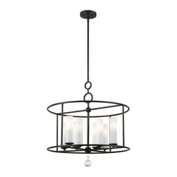 """Crystorama - Cameron Chandelier - Cameron Collection English Bronze chandelier. Takes 8 - 60 w/c bulbs. Rod: 8"""" Chain: 72"""" Wire: 120"""""""