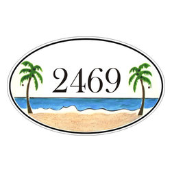Oval Tropical Beach House Number Plaque - To find out more and how to order click here: http://www.classyplaques.com/oval-tropical-beach-house-number-plaque/