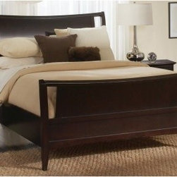 Newport Sleigh Bed - Tie your bedroom together with the Newport Sleigh Bed -- a perfect combination of traditional design and contemporary style. Part of the Newport collection, this bed is a great take on traditional sleigh bed design -- with full, curved head and foot boards that create a bold centerpiece for any bedroom. Constructed of hardwood solids with birch veneers, then finished with a robust java stain. Available in California King, King, or Queen. A beautiful addition to any home, along with other pieces from the Newport collection.About aspenhomeOver the past 30+ years, aspenhome™ has transformed from a small, family owned entertainment business in Phoenix to a full-line furniture company specializing in thoughtful, innovative products designed for the way people work, play, and relax at home. Aspenhome™ has received a number of recognitions including: 6 Pinnacle Design awards, Consumer's Digest Best Buy for home entertainment, Home Furnishing's News Award of Excellence for entertainment, and Furniture Today's 2008 Supplier of the Year. Aspenhome™ is a proud sponsor of City of Hope, dedicated to the research, treatment, education, prevention, and cure of cancer and other life-threatening diseases.