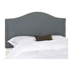 Safavieh - Safavieh Connie Grey Full/ Queen Headboard - Bring a simple yet sophisticated look to your bedroom with this gray queen-size headboard. The plywood headboard has beautiful nailhead detailing around its borders and a classic silhouette for style, and it's thickly padded to keep you comfortable.