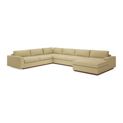 True Modern - Jackson FME Corner Sectional w/ chaise - Tumbleweed - The Jackson FME Corner Sectional with Chaise is the perfect compromise between our Sectional Sofas and the Sofa with Chaise. Get the best of both worlds. Throw your feet up on the chaise or relax on the oversized seat, while the low and wide arms and pillows make it the ultimate lounger, but the clean design still keeps it modern and hip. The seat cushions are wrapped in down and the back pillows are stuffed with luxurious blend of feather and down as well. Our exclusive baffled system helps keep the feathers in place so you won't need to constantly fluff the pillows. The wooden base is hidden so the sofa really appears to be floating on air. The low slanted back let's you lay back, stretch out and relax. Add an ottoman and really kick back! Its polyester woven fabric is durable and soft with a great multi tone texture.