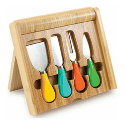 Picnic Time Cheese Knife Set, Carnaval - These festive cheese knives are super cute, and they come packed into a folding cheese board — so convenient!