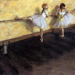"""Edgar Degas Dancers Practicing at the Barre - 16"""" x 16"""" Premium Archival Print - 16"""" x 16"""" Edgar Degas Dancers Practicing at the Barre premium archival print reproduced to meet museum quality standards. Our museum quality archival prints are produced using high-precision print technology for a more accurate reproduction printed on high quality, heavyweight matte presentation paper with fade-resistant, archival inks. Our progressive business model allows us to offer works of art to you at the best wholesale pricing, significantly less than art gallery prices, affordable to all. This line of artwork is produced with extra white border space (if you choose to have it framed, for your framer to work with to frame properly or utilize a larger mat and/or frame).  We present a comprehensive collection of exceptional art reproductions byEdgar Degas."""