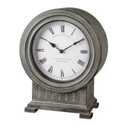 Uttermost - Chouteau Mantel Clock - Antiqued, dusty gray finish with burnished edges. Quartz movement. Coordinates with floor clock #06086.