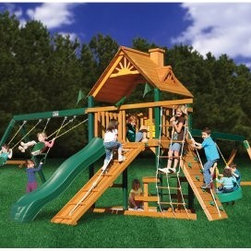 Gorilla Playsets Blue Ridge Frontier Wood Swing Set - Additional featuresMaintenance-free, vinyl-coated, preserved pine structural beamsChoice grade, factory-stained woodSolid 4 x 6-in. main beams5-ft. H deck4 x 4-in. framingTire swing beam with tire swingDeluxe climbing ramp with rope3-position swing beam2 swings with powder-coated chains1 trapeze bar with powder-coated chainsIron ductile swing hangersClimbing rope ladderBuilt-in picnic tableBuilt-in sandboxClimbing rock wall with ropeExclusive Tic-Tac-Toe spinner panelTelescope with imaginative play10-ft. wave slide 10-year warranty on Gorilla Playsets frame1-year warranty on Gorilla Playsets accessories The Gorilla Playsets Blue Ridge Frontier Wood Swing Set combines an abundance of play features with outstanding craftsmanship and resilient materials. This swing set is constructed from factory-stained and sealed preserved pine, including vinyl-coated, preserved pine structural beams, all of which are resistant to rot, decay, and insect damage. These beams are held together securely with galvanized, countersunk bolts to resist weather and provide an added element of safety. A 4x6-foot clubhouse play deck features a tongue-and-groove A-frame wood roof overhead to provide shelter and shade. Below, a built-in picnic table provides the ideal place for lunches and snacks.About Gorilla PlaysetsSince 1992, Gorilla Playsets has been designing and selling ready-to-assemble playsets. With a reputation for providing excellent customer service, Gorilla Playsets conveniently provides customers with affordable playsets including quality wood components, sturdy playset accessories, all necessary hardware, and clear instructions. Gorilla Playsets always keeps safety in mind while creating inventive, durable products that provide children with myriad possibilities for fun and play.