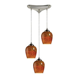 ELK Lighting - Three Light Satin Nickel Autumn Glass Multi Light Pendant - Three Light Satin Nickel Autumn Glass Multi Light Pendant