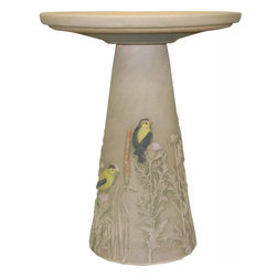 Burley Clay - Burley Clay Goldfinch Clay Birdbath - Beautiful hand-painted handcrafted birdbath comes in 2 pieces, the top sits on top of the pedestal. Goldfinches perched on plants encircle this birdbath. Top with glazed interior.Our clay birdbaths are pottery with a passion. Using clay from Ohio mines and processing it into a stoneware body, firing it in kilns and finishing it with our beautiful hand painting truly makes this the only U.S.A produced clay birdbath