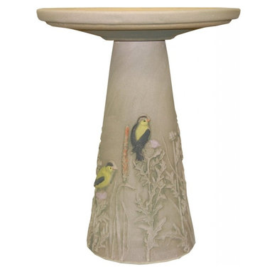 Burley Clay - Burley Clay Goldfinch Clay Birdbath and Pedestal stand bird bath - Beautiful hand-painted handcrafted birdbath comes in 2 pieces, the top sits on top of the pedestal. Goldfinches perched on plants encircle this birdbath. Top with glazed interior.Our clay birdbaths are pottery with a passion. Using clay from Ohio mines and processing it into a stoneware body, firing it in kilns and finishing it with our beautiful hand painting truly makes this the only U.S.A produced clay birdbath