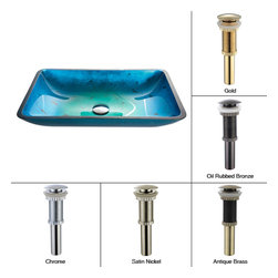 Kraus - Kraus Irruption Blue Rectangular Glass Vessel Sink with PU Chrome - *This rectangular glass vessel sink is a fusion of elegance and modern